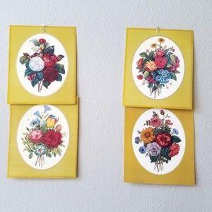 Vintage Set Four Bouquet Floral Botanical Prints